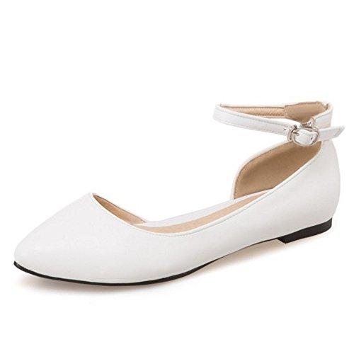COOLCEPT Femme Mode Sangle De Cheville Laniere Sandales Plat Bout Ferme D'orsay Chaussures Taille Blanc
