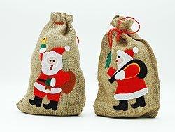 10x Jute Sack Nikolaus Geschenk Sack Beutel Jutebeutel je 20 x 29 cm Geschenksack Jutesack Weihnachtsmann Weihnachten 10 Stück im Set