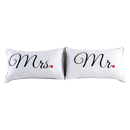 ntbed - set di federe per coppie di amanti, per lui e lei (cuscino non incluso), poliestere, mrs mr, standard