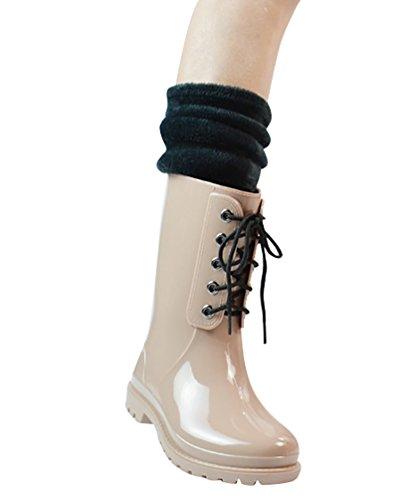 LvRao Frauen Gummistiefel Regen Schnee Wasserdichte Hohe Knöchel Lange Wellington Garten Schuhe Beige mit Socken