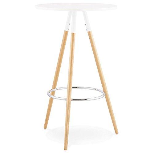 MK Table Haute Ronde scandinave Julie en Bois (Ø 65 cm) (Blanc, Naturel)