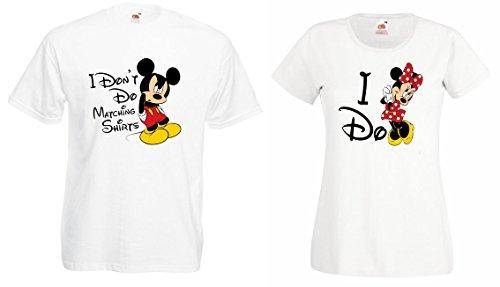 """TRVPPY - 2x Couple Partenaire T-Shirt's / Modèle """"MICKEY & MINNIE MR MRS"""" / pour Homme & Femme / Couleur Noir / Taille Homme XL + Femme XXL"""