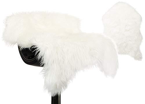 Brandsseller Kunstfell Fellteppich Läufer Sesselüberwurf Schaffell-Optik - Luxuriöser Kunstfellteppiche - 55 x 80 cm weiß
