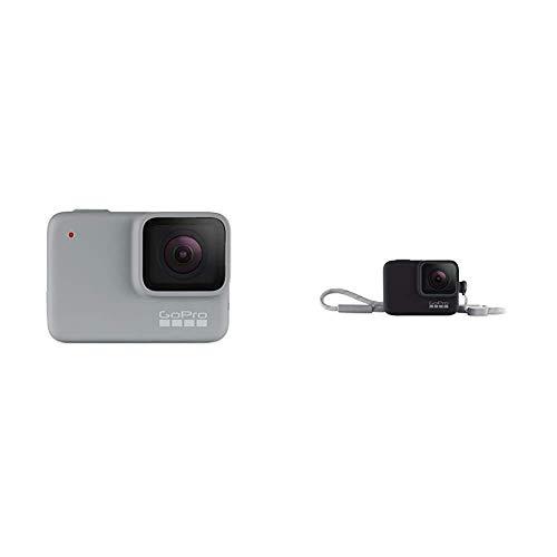 GoPro HERO7 White - Cámara de acción digital sumergible con pantalla táctil, vídeo HD 1440p y fotos de 10 MP, blanco + Funda para cámara GoPro (incluye cordón) negro