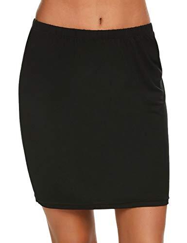 ADOME Damen Unterröcke Miederrock Rock Halbrock Underskirt Miederkleid Lingerie Unterkleid Unterwäsche Dessous Kleid, Aprikose Schwarz Weiß S-XL