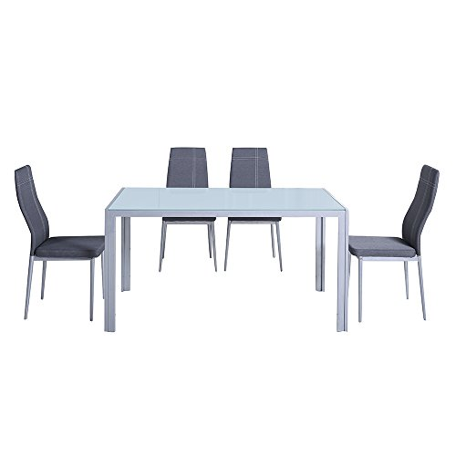 Italian concept 142 set cucina benny/jolly, alluminio, vetro temperato, poliuretano, tessuto, grigio, 140 x 80 x 75 cm