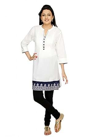 Srishti Fashion Cambric 100% Cotton 3/4 Sleeves Ladies Kurti - Offwhite
