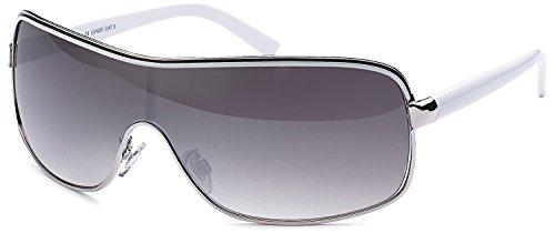 SAMBORA® A60000-3 Unisex Sonnenbrille UV400 Schutz Wayfarer Style - Rahmen: Weiß Glas: Dunkel