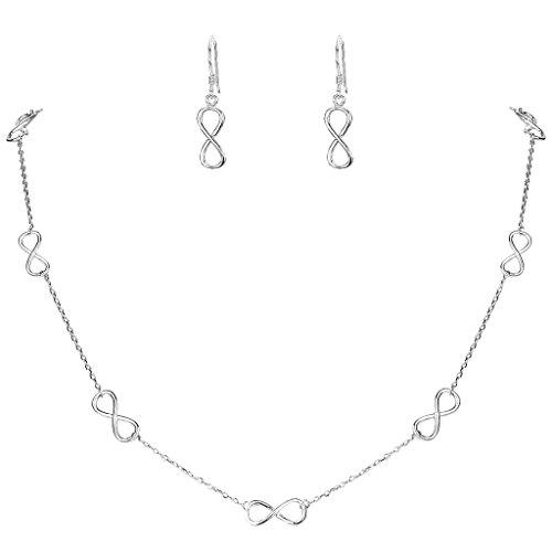 EVER FAITH® - 925 Plata Esterlina Elegante Figura 8 Infinidad Collar Pendientes Conjunto Claro