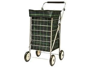 Sabichi Shopping Trolley 4 Wheeled Cart Bag Lightweight Adjustable Handle Tartan Trolley New