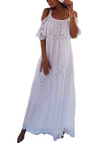 Bsubseach Blanc Sexy Femmes Bandoulière Longue Robe De Plage Blanc De Robe De Plage Maillot De Bain