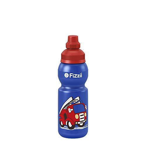 Fizzii Kinder- und Freizeittrinkflasche 330 ml (auslaufsicher bei Kohlensäure, schadstofffrei, spülmaschinenfest, Motiv: Feuerwehr) - Geschirrspüler Desinfizieren