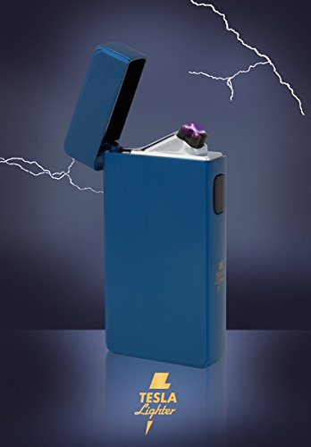 Tesla-Lighter T13 | Lichtbogen Feuerzeug, Plasma Double-Arc, elektronisch wiederaufladbar, aufladbar mit Strom per USB, ohne Gas und Benzin, mit Ladekabel, in edler Geschenkverpackung, Blau