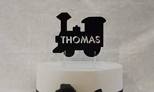 Ethelt5IV Cake Topper Train Personalisierte Dusche oder Geburtstag Cake Topper und Andenken mit Ständer und Kuchen Stakes Choo Choo Train Thomas der Zug (Thomas Der Zug-party)