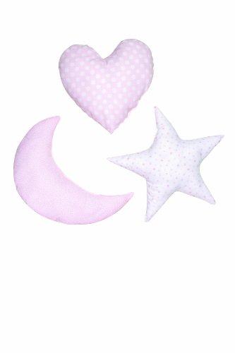 Praia E2264370 - Pack de 3 cojines, diseño de corazón, luna y estrella, color rosa