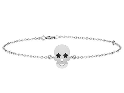 Or Blanc 9 ct Bracelet Diamant en forme de crâne, 0.04 Ct Diamant, GH-SI, 1.95 grammes.