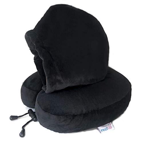 Restup mit Kapuze Reisekissen | Premium Velour Cover mit Memory Foam für Kopf-, Kinn- und Nackenstütze | *Einheitsgröße für Erwachsene und Kinder*