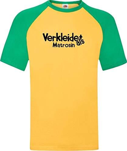 Shirtinstyle Raglan Shirt Karneval Verkleidet als Matrosin Fasching Kostüm Verkleidung, Farbe gelb-grün, Größe S