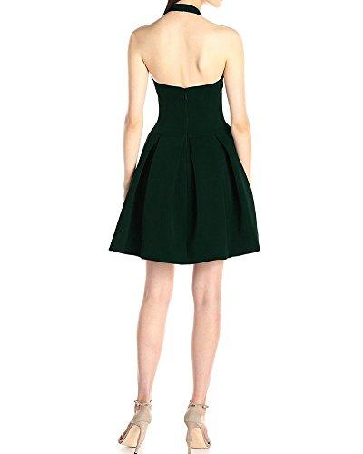 SaiDeng Femme Col Profond V Halter Dos Nu Sans Manches Lanterne Jupe Robe De Fête Robe Mi-Cuisse Vert foncé