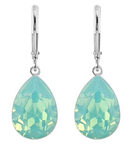 petra kupfer Damen Ohrringe Ohrhänger Tropfen Anhänger 1 Swarovski®-Kristall Türkis Pacific Opal Versilbert rdh1-pacific-opal -