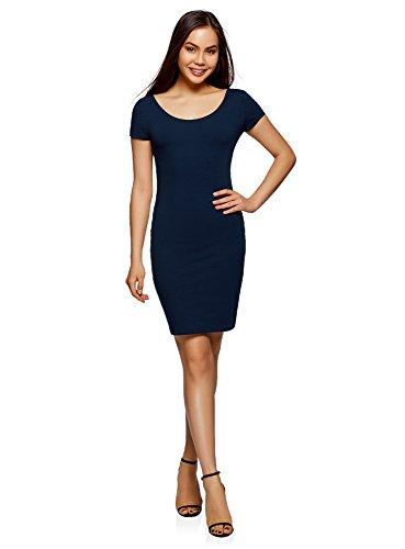oodji Collection Damen Enges Kleid mit Tiefem Ausschnitt am Rücken, Blau, DE 38 / EU 40 / ()