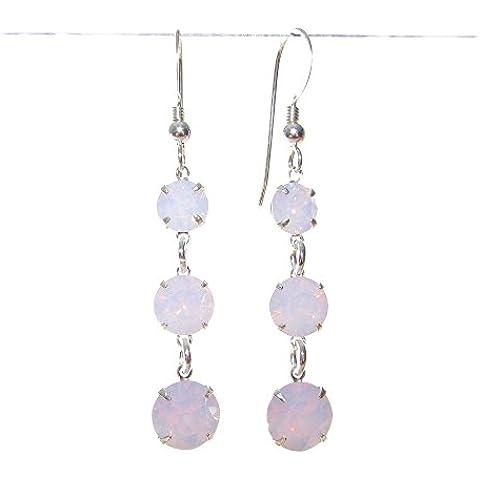Orecchini pendenti in argento 925 con rosa acqua opale, realizzato a mano, con cristalli di Swarovski ®.