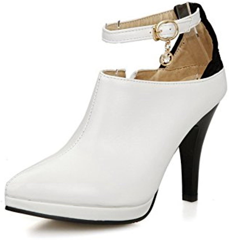 allhqfashion a pu les bouts fermés boucle b072293181 solides solides solides chaussures à talons pompes parent 1441b1