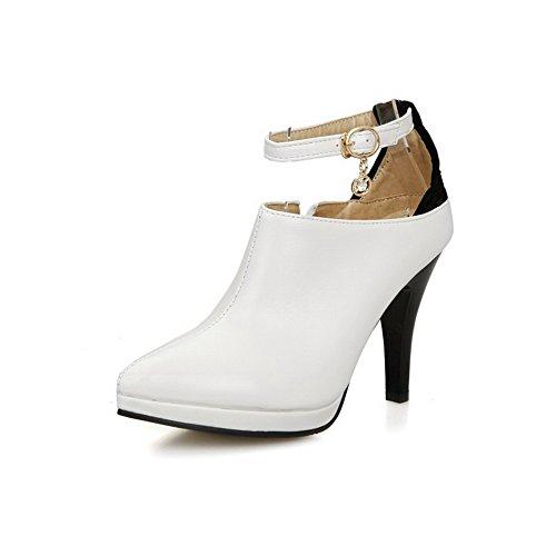 AllhqFashion Femme Pointu Couleur Unie Boucle Chaussures Légeres Blanc