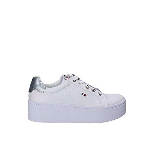 Hilfiger Denim Tommy Jeans Flatform Sneaker, Scarpe da Ginnastica Basse Donna Bianco (White 100)