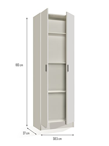 Compare Prices for VITA – Multi Use Wardrobe 2 doors 007144O – WHITE – (185×36.5×10.3)