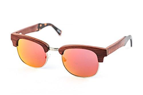 Rot Rihanna Classic Sonnenbrille aus Edelstahl und Rosenholz - Polarisiert UV400 – TAC Brillengläser