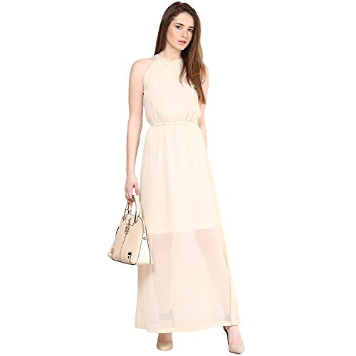 Harpa Women's Georgette Body Con Dress (GR2730_Cream_Large)  available at amazon for Rs.560