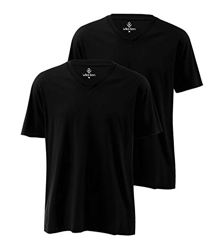 Herren Basic T-Shirt Kurzarm Shirt Mit V-Ausschnitt Aus 100% Baumwolle, 2er Pack (XL, Schwarz) -
