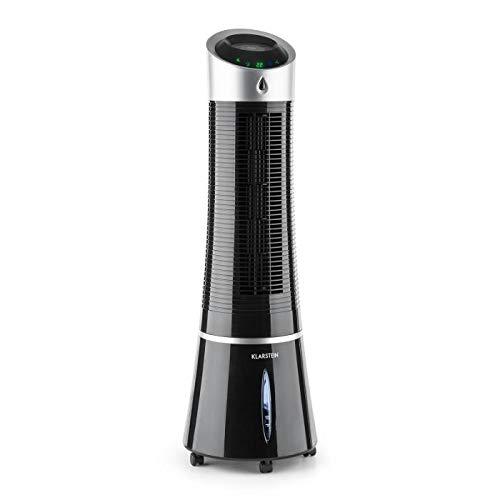 Klarstein Skyscraper Ice Fresh Line - Rafraichisseur d'air, Humidificateur, Purificateur, Ventilateur, Consommation économique, 500 m³/h, 3 Vitesses, 3 Modes, Noir
