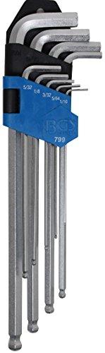 BGS 799 | Winkelschlüssel-Satz | Zollgrößen | Innensechskant / Innensechskant mit Kugelkopf 1/16
