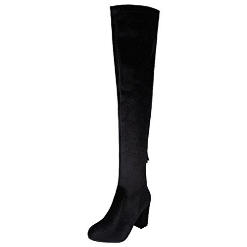 Longra Il colore solido delle donne colpisce il materiale superiore del piede pieghevole rotondo del piede dei talloni high-heeled sopra-il-ginocchio Nero