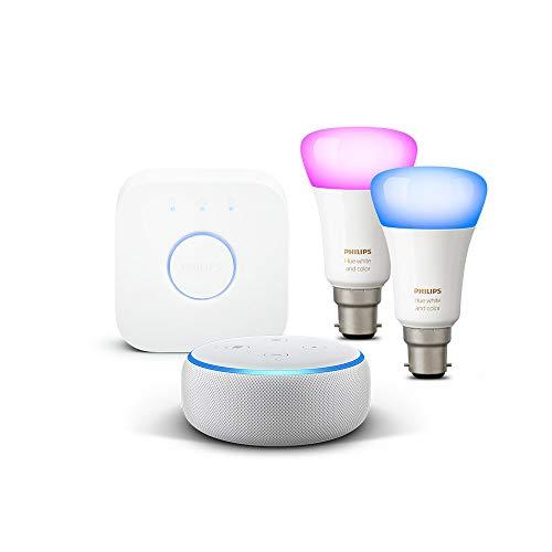 All-new Echo Dot (3rd Gen), White + Philips Hue White and Color Starter Kit B22