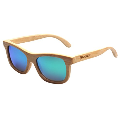 Iwood Handcrafted Moda de bambú Natural Marcos Verde lente polarizada Gafas de sol de madera
