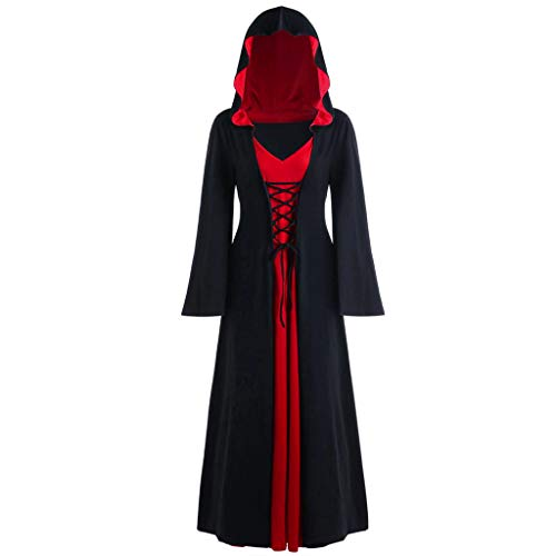 Gothic Kleidung Damen,Damen Übergröße Halloween Hooded Lace Up Patchwork Langarm langes Kleid Mittelalter Kleid Mittelalterlichen Vintage Gothic Gericht Kleid Halloween Cosplay Kostüm (80's Kostüm Für Schwangere)