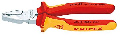 KNIPEX 02 06 180 Kraft-Kombizange verchromt isoliert mit Mehrkomponenten-Hüllen, VDE-geprüft 180 mm