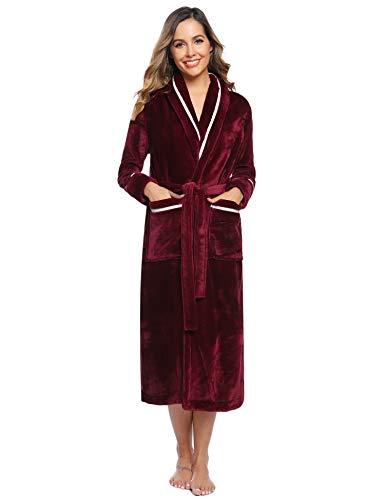 Hawiton Robe De Chambre Chaude Femme, Simple et Élégant Peignoir pour Femme en Flanelle Velours Longue - Vin Rouge-femme - L