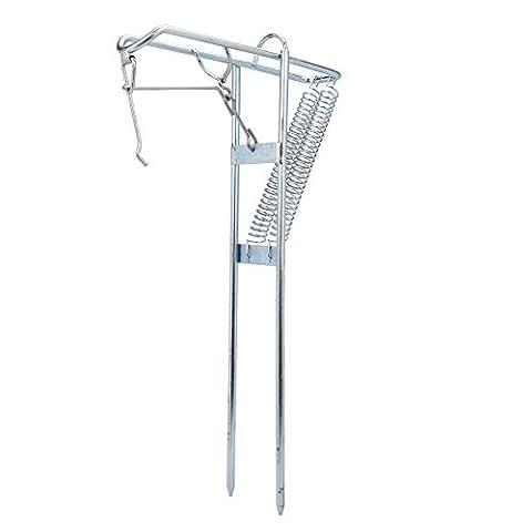 Metall Angelrutenhalter Ruten Ständer mit automatischem Klappspanner Doppelt Federhalter Rack mit automatischem Tip Up Hook Setter