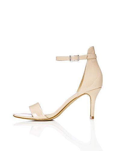 FIND Sandalen Damen mit künstlichem Glatt- und Lackleder und Knöchelriemchen, Beige (Nude), 39 EU