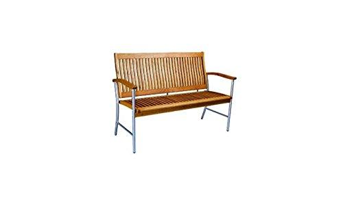 Moderne 2-Sitzer Edelstahl Gartenbank / Holz-Gartenbank'Vancouver' mit Armlehnen, Edelstahl-Gestell und hochwertiger Belattung aus geöltem Robinien Holz im Maß von ca. 129 x 92 x 59...