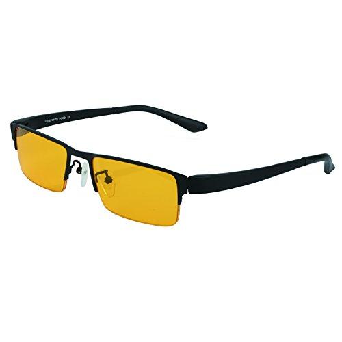 DUCO Optik Blaufilterbrille Blaues Licht und UV Schutzbrille Bildschirmbrille fortgeschrittene Gamer Gamingbrille Computerbrille mit Bernsteinglas GX090 (Gelb)