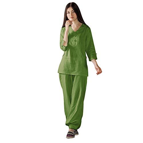 KSUA Frauen Tai Chi Uniform Chinesisch Kung Fu Kleidung Baumwolle Tai Chi Anzug mit Dreiviertel-Ärmeln, Grün EU M/Etikett L (Martial-arts-uniform V-ausschnitt)