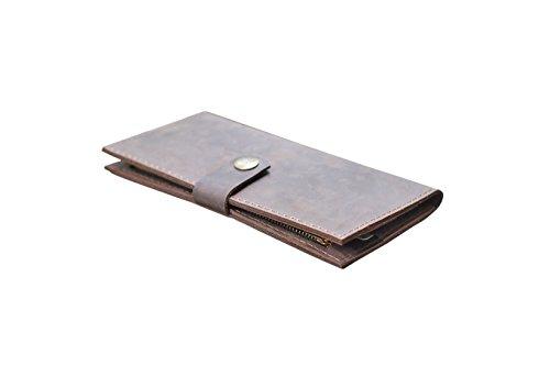 Leder Geldbörse für Männer braun. Passport Inhaber Koffer. Schlanke handgefertigte Brieftasche. (Brieftasche Scheckheft Inhaber)