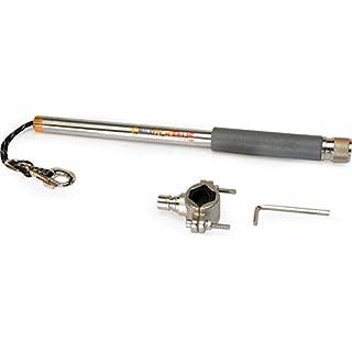 dobar 62000 Walky Dog Plus - Hundeleine aus Edelstahl mit Dreifach-Rückdämpfer, Fahrradleine mit Quicklock und Abstandhalter, 37.5 cm, Edelstahl