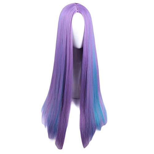 Violet/Bleu 65 cm Cosplay Synthétique Perruque Longue Longue Droite Perruque De Cheveux Faits sail