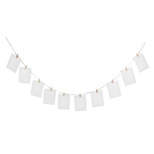 OULII 10pcs colgante DIY álbum Garland Kraft papel foto marco cadenas de conjuntos de cuerda para la decoración de la boda (blanco)